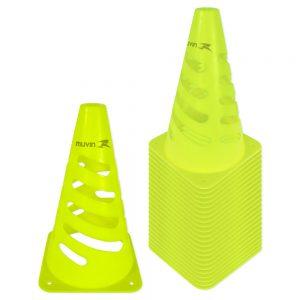 Cone de Marcação 24cm Flexível Amarelo Fluorescente Kit com 24
