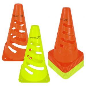Cone de Marcação Flexível Amarelo Laranja Fluorescente Kit com 12